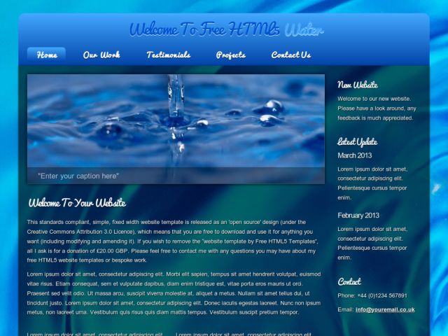 html5 water - Free Web Templates