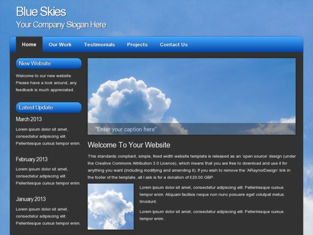 Download free website templates from opendesigns blue skies pronofoot35fo Gallery